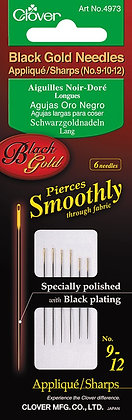 Clover Black Gold Needles Applique/Sharps assorted 9-12