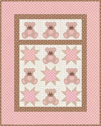 Applique teddy bear baby quilt pattern