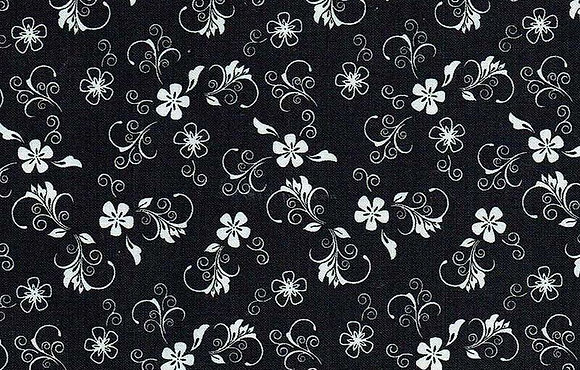Black and White Floral Swirl 7114-07 kennard and kennard