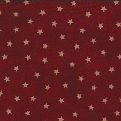 Old Glory Gatherings Stars Dark Red Primitive Gatherings Moda Fabrics 1072-21