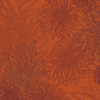 Floral Elements Russet Orange Art Gallery Studio Fabrics