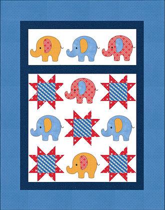 Elephants applique Quilt Kit