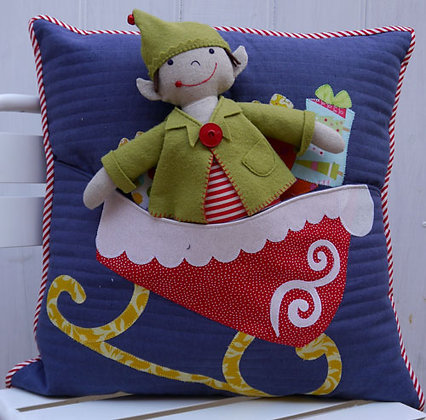 Claire Turpin Elfie Jones and his Christmas Sleigh Cushion Pattern
