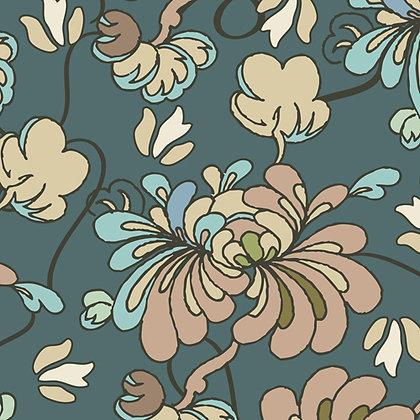 Art Gallery Fabrics Alhambra Spanish Petals Teal Pat Bravo AH224