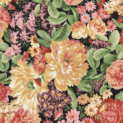 Sentimental Studios Bella  15331-11 Moda Fabric Floral Colourful Black Melbourne Victoria Machine Quilting