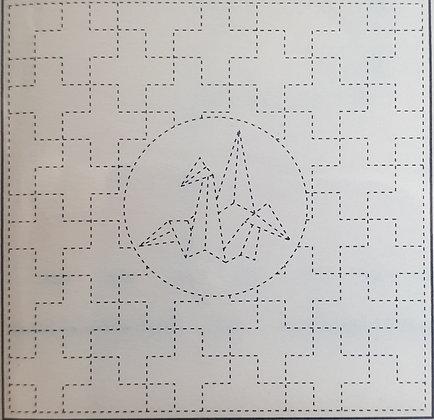 sashiko pre-printed sampler panel Origami Swan