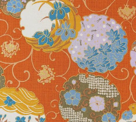 Asian Floral Orange Oda A001