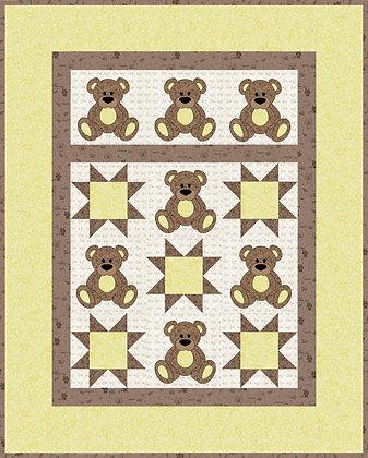 Yellow teddy bear applique quilt downloadable pattern