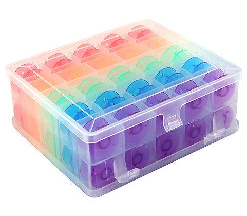 Hemline double sided Bobbin Box with 50 coloured bobbins