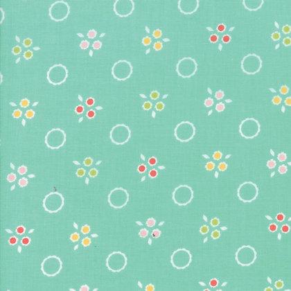 Flowers Mill Pom Pom Aqua Corey Yoderl Moda Fabrics 29033-19