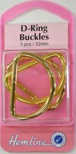 Hemline Gold D Ring Buckles Bag accessories