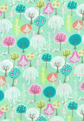 A Spring Burst Green Flowering Trees quiltweaves 6061B