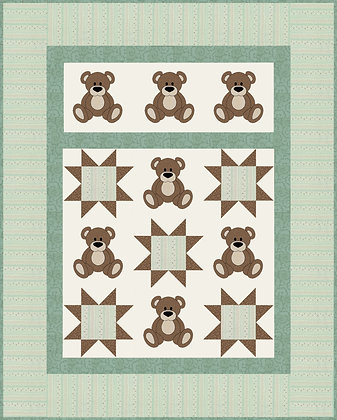 Teddy Bear Quilt Kit Green