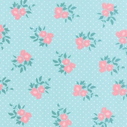 Moda Fabrics Bunny Hill fabric Kindred Spirits Flower Blue 2891-13