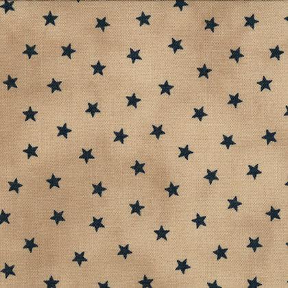 Old Glory Gatherings Navy stars on Tan Primitive Gatherings Moda Fabrics 1074-15