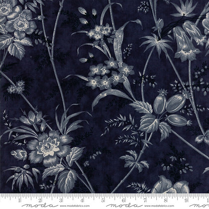 Holly Woods 3 Sisters 44170-16 Cream Flowers on Navy Blue moda fabrics