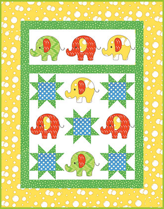 Elephants Quilt Kit applique and fabric