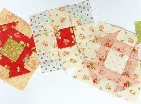 Raspberry Tea Quilt Along  Pieced Blocks 1, 2 and 3