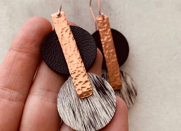 Copper & Hide Bar Earrings