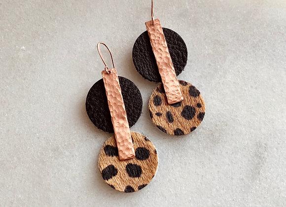 Copper & Hide Bar Earrings