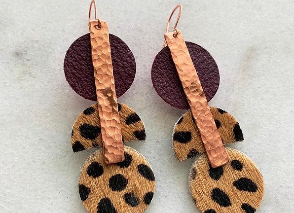 Copper  Geometric Leather Earrings