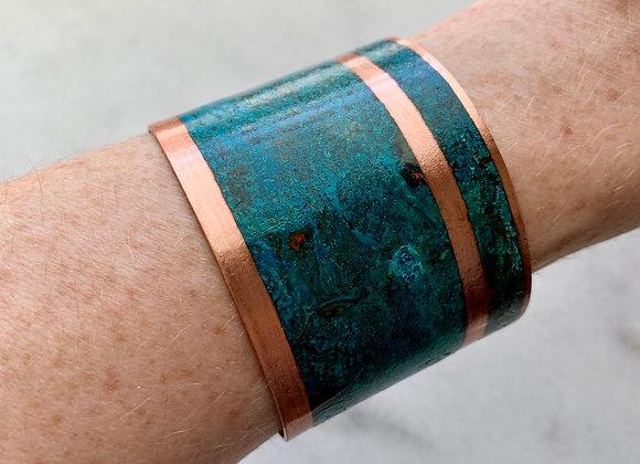 Large Patina Copper Cuff Bracelet