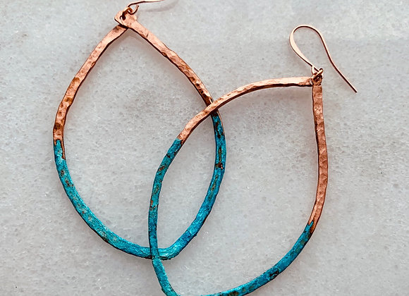 Patina copper wire earrings