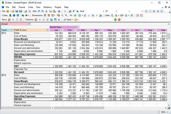 Multidimensional spreadsheets