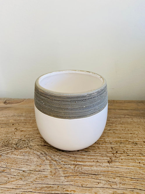 Two Toned Striped Pot