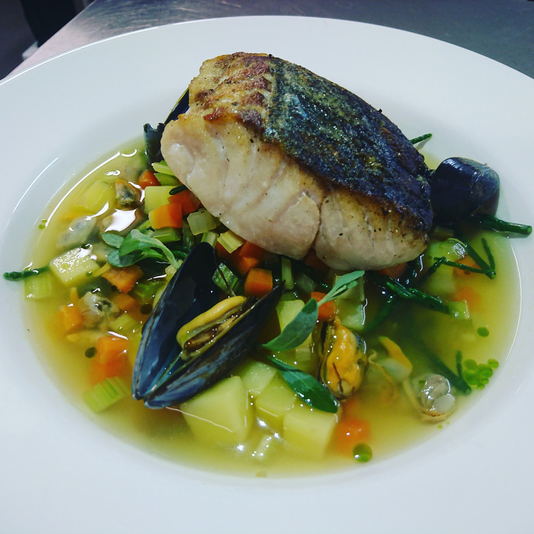Pan roasted Coley, seafood broth, sea herbs
