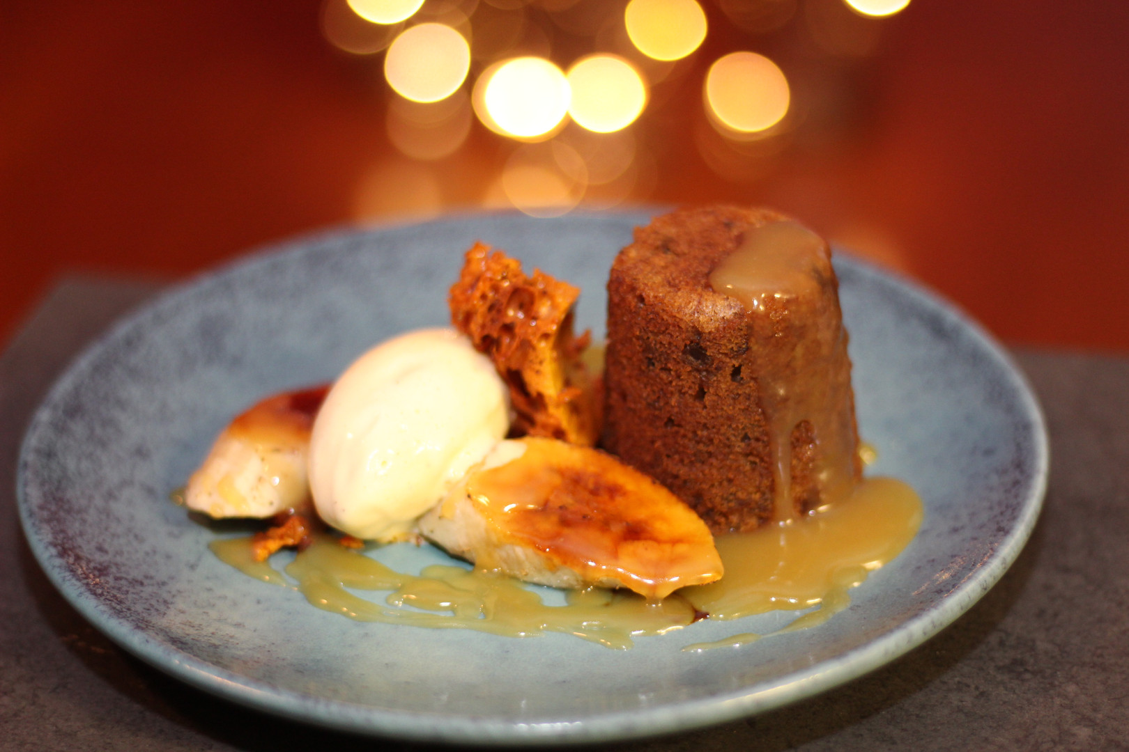 Banana sticky pudding, honeycomb & butterscotch