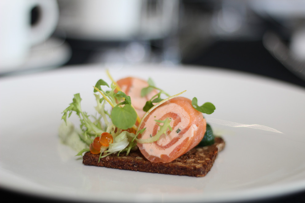 Smoked Salmon roulade on rye bread