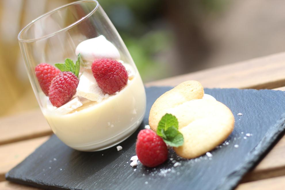 Traditional Lemon posset, meringue, raspberries, Bosworth jumble