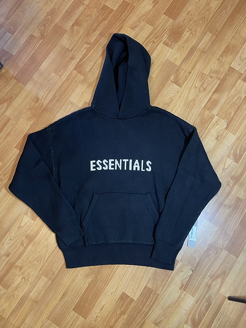 DS Fear of God Black Knit Hoodie Sz Small