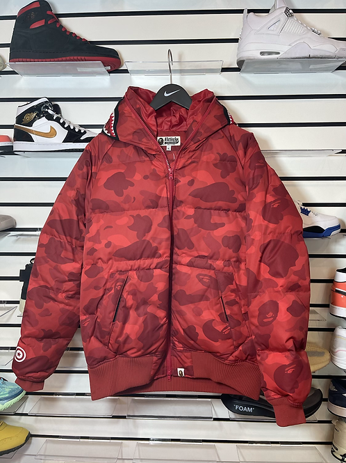 Bape Red Puffer Jacket Sz XL