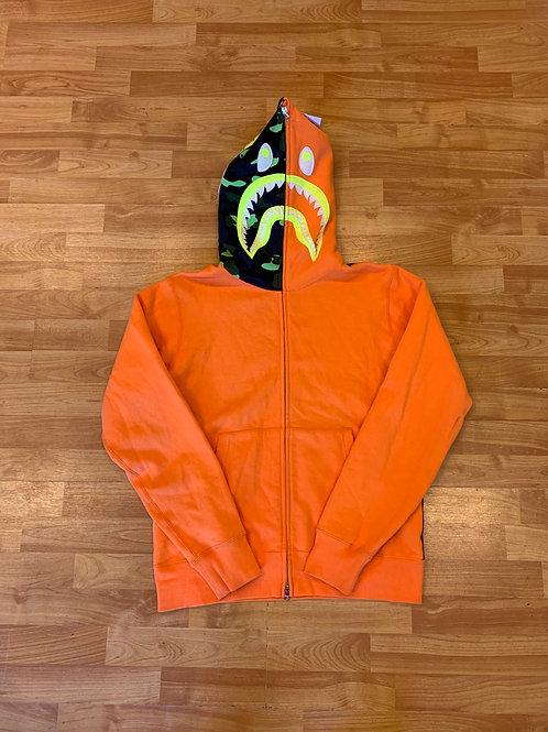 Orange Bape Shark Hoodie Size L