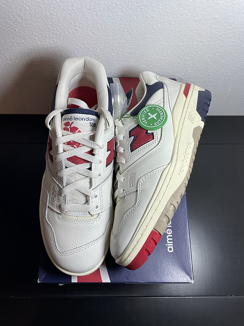 DS ALD New Balance 550 White Navy Red Sz 8