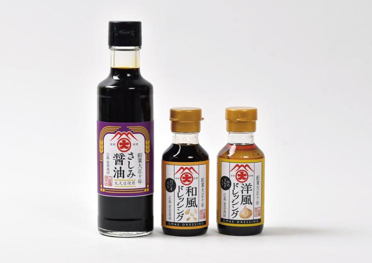 株式会社大前醤油本店「さしみ醤油」、「和風ドレッシング」、「洋風ドレッシング」パッケージ