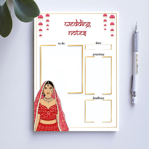 Red Bride Wedding Notepad