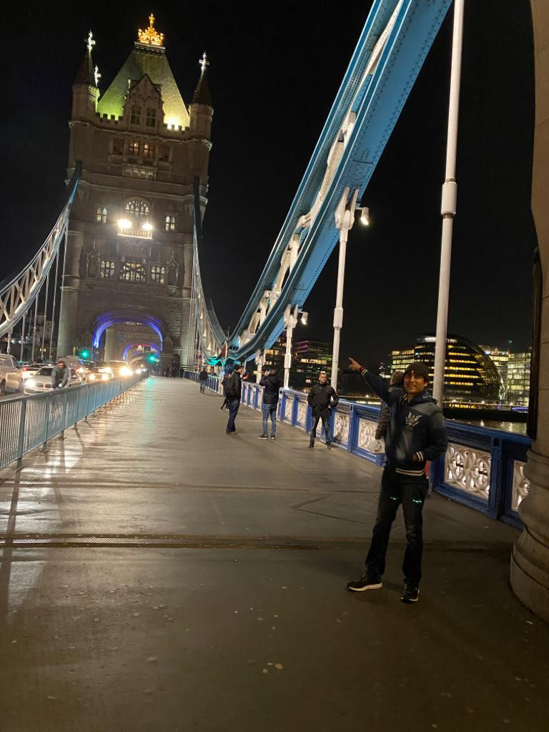 Megastar Aazaad at London Bridge.