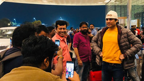 """Megastar Aazaad leaves for the Poster launch of his movie """"The Great Patriot"""" in London."""