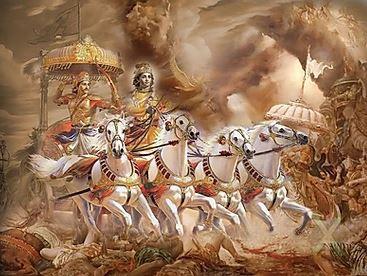 Arjuna & Lord Krishna in the battle of Kurukshetra.