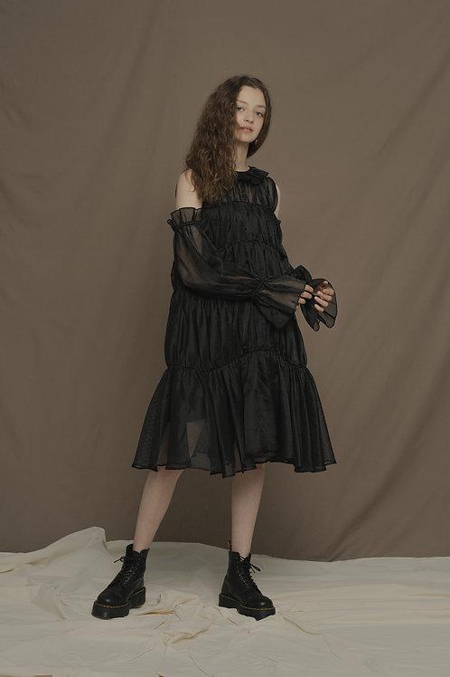 PSEUDO/POEMS ARIANA Black Mesh Flower Collar Dress
