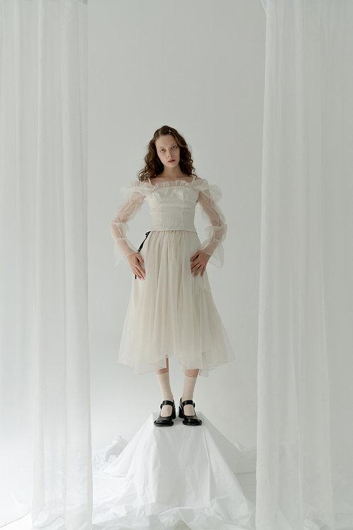 PSEUDO/POEMS CLORIS Asymmetrical Double Layers Organza Skirt