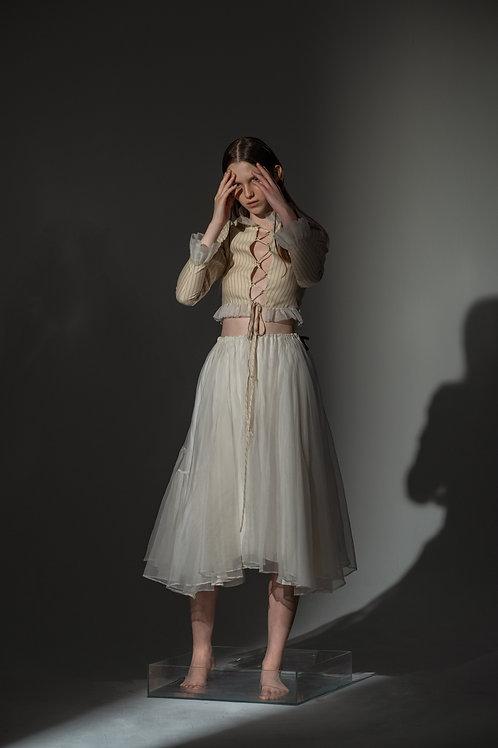 PSEUDO/POEMS TRINA Cotton Striped Shirt with Silk Organza Collar