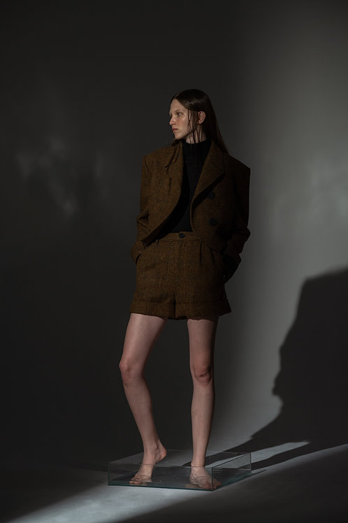 PSEUDO/POEMS CELIA Harris Tweed Olive Green Handmade Wool Short Coat