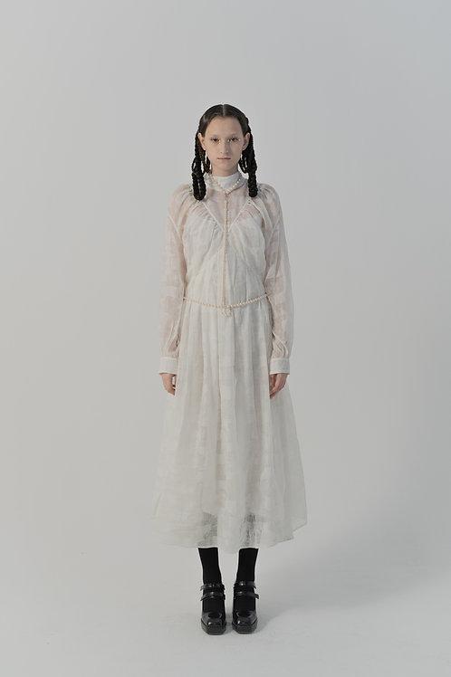 PSEUDO/POEMS Fia White Silk-linen Salt-shrink Fabric High-neck Dress