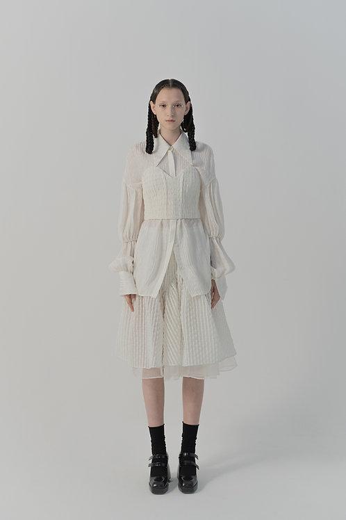 PSEUDO/POEMS Fiumi White Texture Wool Check Corset