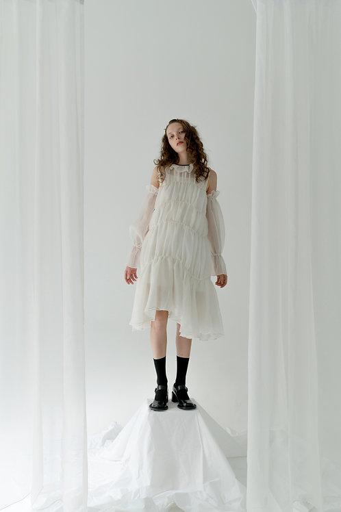 PSEUDO/POEMS ARIANA Silk Jacquard Flower Collar Dress