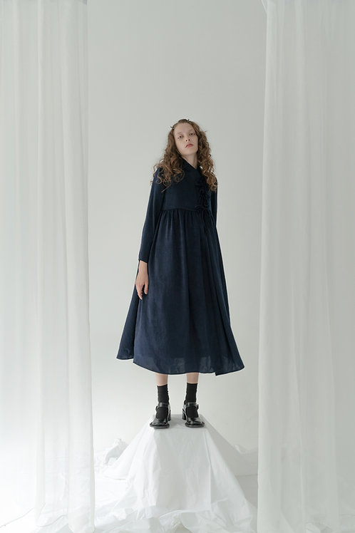 PSEUDO/POEMS TERASA High-waist Smock Dress with Off-center Front Opening